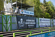 Scoreboard advertising during the Vanarama National League match between Forest Green Rovers and Maidstone United at the New Lawn, Forest Green, United Kingdom on 22 April 2017. Photo by Shane Healey.