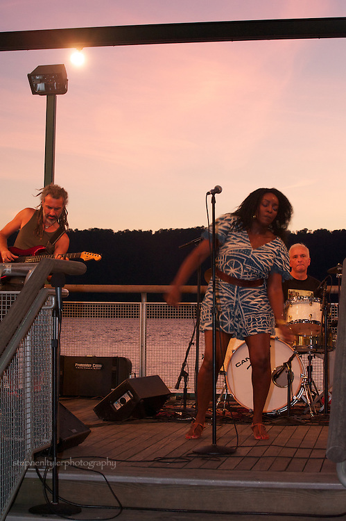 Kaissa performs on the Hudson River waterfront at the pier under the Yonkers amphitheatre during the Jazz & Blues and More Friday night summer music series. With Kaissa are Jean-Christophe Maillard (guitar), Maciek Schejbal (drums) and Patrice Blanchard (bass).