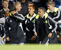 Photo: Richard Lane/Sportsbeat Images.<br />Chelsea v Rosenborg. UEFA Champions League Group B. 18/09/2007. <br />Chelsea manager, Jose Mourinho on the final whistle with Joe Cole, head in hands.