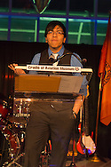 Feb. 27, 2013 - Garden City, New York, U.S. - LUIS TOLOSA, 18, a graduate of the Westbury STEM Magnet Academy (Science, Technology, Engineering, and Math) of the Cradle of Aviation, spoke at the 10th Annual Cradle of Aviation Museum Air & Space Gala, celebrating the 40th Anniversary of Apollo 17.