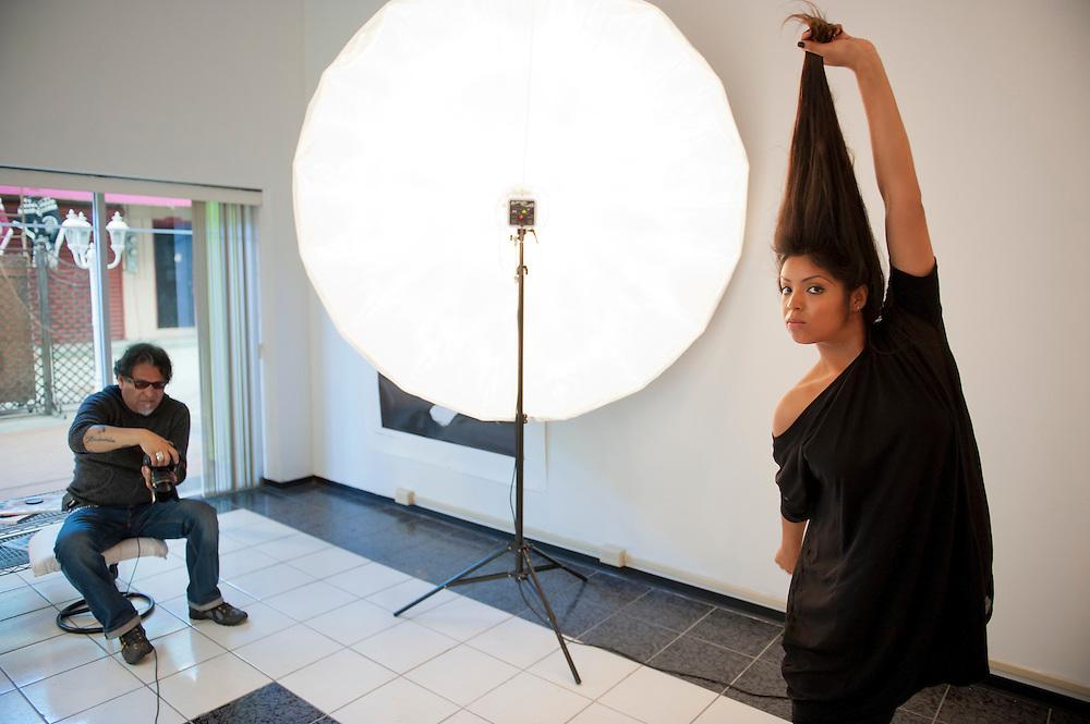 Josue Castro, photographer, at his studio in Tijuana...© Stefan Falke.http://www.stefanfalke.com/..