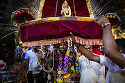Jan. 24, 2016 - Kuala Lumpur, Batu Caves, Malaysia - <br /> <br /> Thaipusam Festival in Kuala Lumpur<br /> <br /> Hindu devotee prepares the kavadi before taking part in the Thaipusam procession in the Batu Caves. To mark this day, Hindus devotees pierce different part of their body with various metal skewers and carry pots of milk on their heads along couple of kilometers to celebrate the honor of Lord Subramaniam (Lord Murugan) in the Batu Caves, one of the most popular shrine outside India and the focal point to celebrate the Thaipusam Festival in Malaysia..Thaipusam is an annual Hindu festival, observed on the day of the full moon during the Tamil month of Thai, it is also a public holiday for many people. <br /> ©Exclusivepix Media