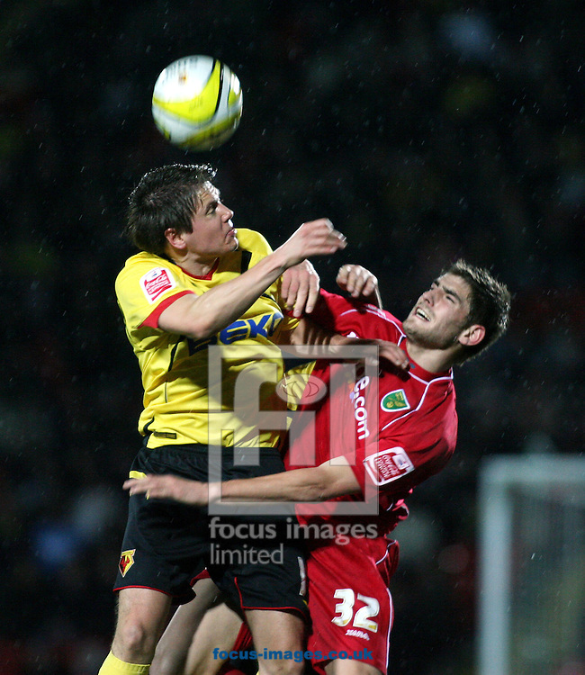 London - Tuesday, March 4th, 2008: Leigh Bromby of Watford and Ched Evans of Norwich City during the Coca Cola Champrionship match at Vicarage Road, London. (Pic by Chris Ratcliffe/Focus Images)