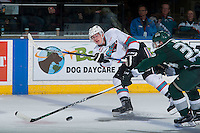 KELOWNA, CANADA - JANUARY 08: Cal Foote #25 of Kelowna Rockets passes the puck against the Everett Silvertips on January 8, 2016 at Prospera Place in Kelowna, British Columbia, Canada.  (Photo by Marissa Baecker/Shoot the Breeze)  *** Local Caption *** Cal Foote;
