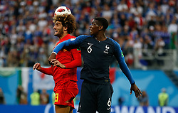 July 10, 2018 - SãO Petersburgo, Rússia - SÃO PETERSBURGO, MO - 10.07.2018: FRANÇA X BÉLGICA - Marouane Fellaini of Belgium contests ball with France's Paul Pogba during a match between France and Belgium valid for the semi fiof the 2018 World Cup held at the Krestovskyvsky Stadium in St Petersburg, Russia. (Credit Image: © Marcelo Machado De Melo/Fotoarena via ZUMA Press)