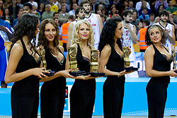 Hostes at medal ceremony after the final basketball game between National basketball teams of Spain and France at FIBA Europe Eurobasket Lithuania 2011, on September 18, 2011, in Arena Zalgirio, Kaunas, Lithuania. Spain defeated France 98-85 and became European Champion 2011, France placed second and Russia third. (Photo by Vid Ponikvar / Sportida)