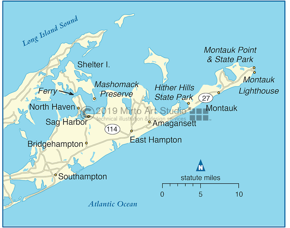 Vector map of Montauk, New York