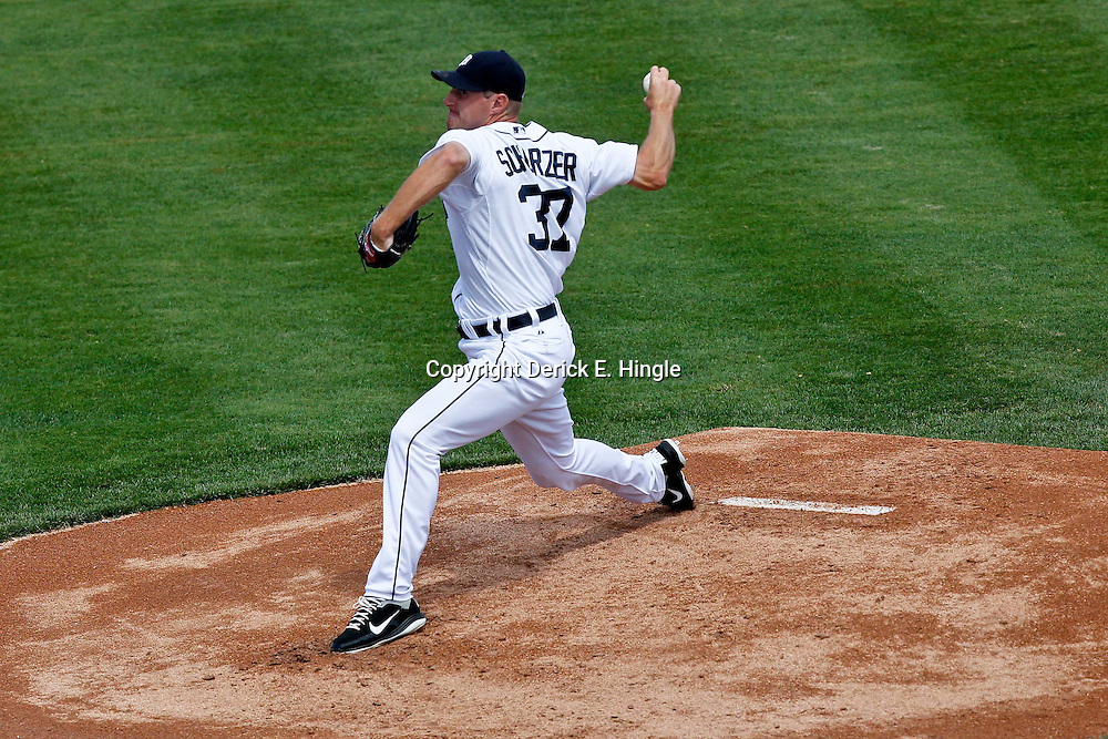 March 14, 2012; Lakeland, FL, USA; Detroit Tigers starting pitcher Max Scherzer (37) throws against the New York Mets during a spring training game at Joker Marchant Stadium. Mandatory Credit: Derick E. Hingle-US PRESSWIRE