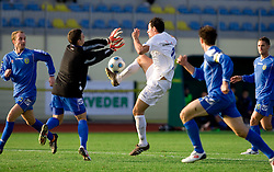 Sasa Kovjenic of Domzale as a goalkeeper vs Domagoj Duspara of Celje at 18th Round of PrvaLiga football match between NK Domzale and NK Celje, on November 22, 2009, in Sportni center, Domzale, Slovenia. Celje defeated Domzale 5:1. (Photo by Vid Ponikvar / Sportida)