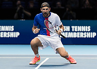 Tennis - 2017 Nitto ATP Finals at The O2 - Day Two<br /> <br /> Mens Doubles: Group Woodbridge/Woodforde: Lukasz Kubot (Poland) & Marcelo Melo (Brazil) Vs Ivan Dodig (Croatia) & Marcel Granollers (Spain)<br /> <br /> Lukasz Kubot (Poland) celebrates after claiming the ATP number one trophy for doubles at the O2 Arena<br /> <br /> COLORSPORT/DANIEL BEARHAM