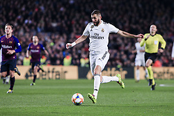 February 6, 2019 - Barcelona, Spain - 09 Karim Benzema of Real Madrid during the semi-final first leg of Spanish King Cup / Copa del Rey football match between FC Barcelona and Real Madrid on 04 of February of 2019 at Camp Nou stadium in Barcelona, Spain  (Credit Image: © Xavier Bonilla/NurPhoto via ZUMA Press)