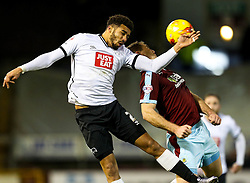 Nick Blackman of Derby County challenges Burnley's Sam Vokes  - Mandatory byline: Matt McNulty/JMP - 25/01/2016 - FOOTBALL - Turf Moor - Burnley, England - Burnley v Derby County - Sky Bet Championship