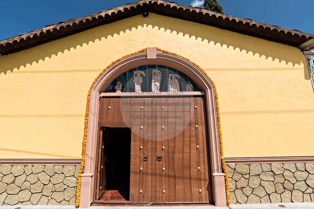 Entrance to the chapel at the La Casa De La Santa Muerte or House of the Saint of the Dead November 1, 2017 in Santa Ana Chapitiro, Michoacan, Mexico.