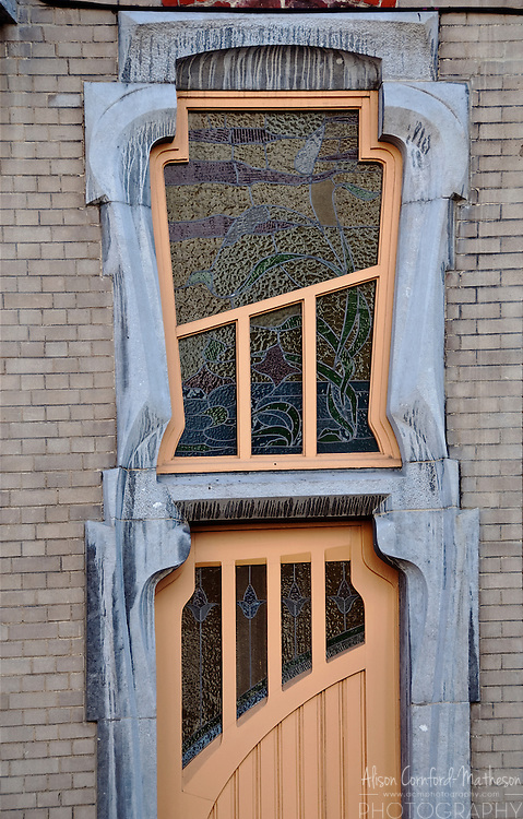 An Art Nouveau Door in the Ambiorix neighborhood of Brussels, Belgium.