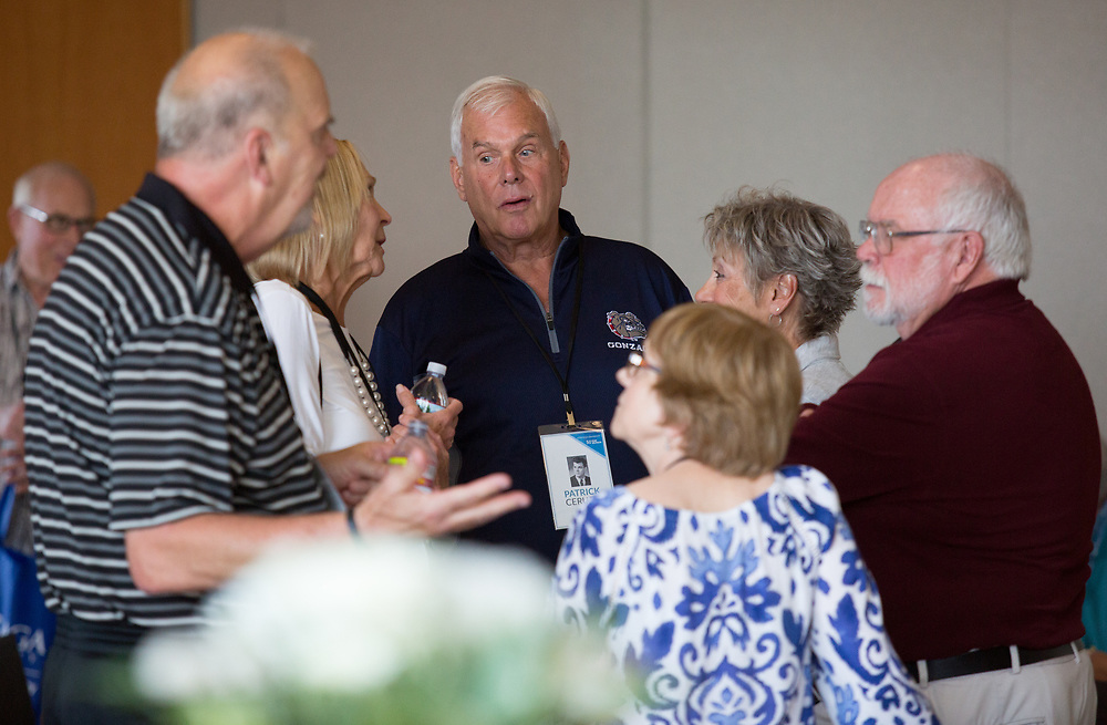 Members of the Class of 1967 socialize on June 16 in the Hemmingson Ballroom. The Gold Club Reunion took place between June 16 and 17 with an abundance of merry reflection. Photo by Libby Kamrowski