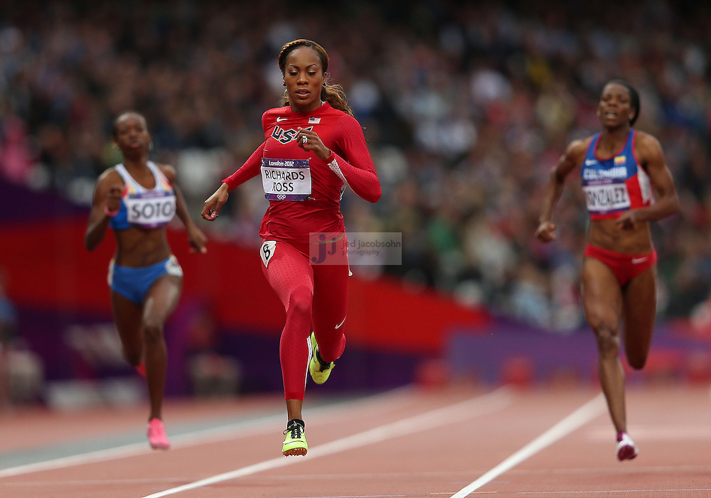 Sanya Richards-Ross of the USA competes in a 200m heat during track and field at the Olympic Stadium during day 10 of the London Olympic Games in London, England, United Kingdom on August 3, 2012..(Jed Jacobsohn/for The New York Times)..