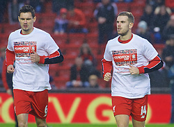 LIVERPOOL, ENGLAND - Sunday, December 13, 2015: Liverpool's captain Jordan Henderson and Dejan Lovren warm-up before the Premier League match against West Bromwich Albion at Anfield. (Pic by James Maloney/Propaganda)