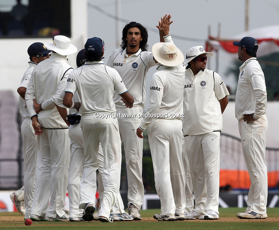 Indian bowler Ishant Sharma celebrates with team mates New Zealand batsman Andy McKay wicket during The India vs New Zealand 3rd test match day-2 Played at Vidarbha Cricket Association Stadium, Jamtha, Nagpur, 21, November 2010 (5-day match)