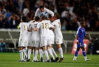 Photo: Richard Lane/Sportsbeat Images.<br />France v Scotland. UEFA European Championships Qualifying. 12/09/2007. <br />Scotland celebrate a goal by James McFadden.