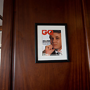 DORAL, FLORIDA, JANUARY 10, 2018<br /> Framed portrait of President Donald Trump on the cover of a GQ Magazine hanging from a column in the Champions Sports Bar &amp; Grill at the Trump National Doral Miami.<br /> (Photo by Angel Valentin/Freelance)