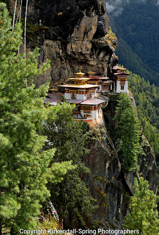 BU00337-00...BHUTAN - Taktshang Goemba, (the Tiger's Nest Monastery), perched on the side of a cliff high above the Paro River Valley.