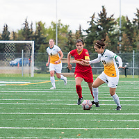 5th year midfielder Shayla Kapila (13) of the Regina Cougars in action during the Women's Soccer Home Game on September 23 at U of R Field. Credit Matt Johnson/©Arthur Images 2017