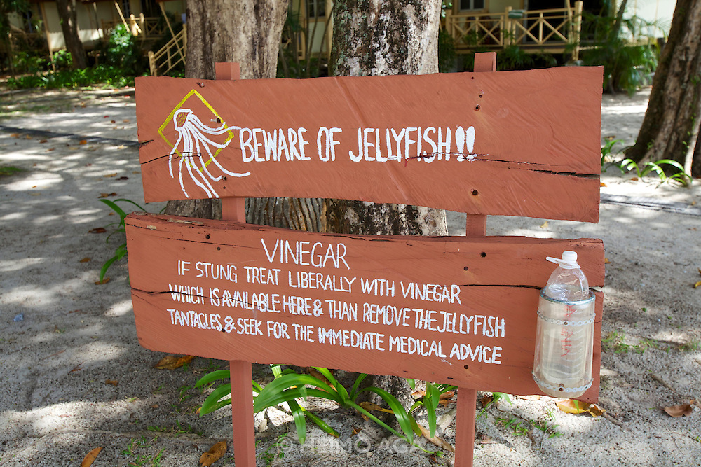 Langkawi. Vinegar first aid against jellyfish stings.
