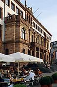 Deutschland Germany Hessen.Hessen, Wiesbaden.Rathaus, Biergarten Andechser., guild hall...