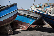 Wooden boat used by the migrants to croos the Sicilian canal in the Pozzallo harbur