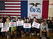 19 JANUARY 2020 - DES MOINES, IOWA: Students wait for an Elizabeth Warren campaign event to start. With just two weeks to go before the Iowa Caucuses, Sen. Warren is campaigning in the Des Moines area this weekend to support her effort to be the Democratic nominee for the US presidential race in 2020. Iowa traditionally hosts the first presidential selection event of the campaign season. The Iowa caucuses are Feb. 3, 2020.     PHOTO BY JACK KURTZ