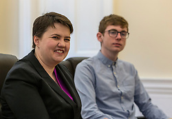 Scottish Conservatives leader, Ruth Davidson, visits the digital business, Company Net, in Edinburgh to mark national apprenticeship week.<br /> <br /> Pictured: L to R, Ruth Davidson, Sean Robertson