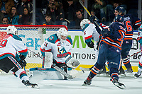 KELOWNA, CANADA - FEBRUARY 24: Brodan Salmond #31 of the Kelowna Rockets makes a save on a shot by Quinn Benjafield #22 of the Kamloops Blazers on February 24, 2018 at Prospera Place in Kelowna, British Columbia, Canada.  (Photo by Marissa Baecker/Shoot the Breeze)  *** Local Caption ***