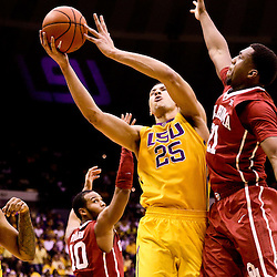Jan 30, 2016; Baton Rouge, LA, USA; LSU Tigers forward Ben Simmons (25) shoots over Oklahoma Sooners forward Dante Buford (21) during the first half of a game at the Pete Maravich Assembly Center. Mandatory Credit: Derick E. Hingle-USA TODAY Sports