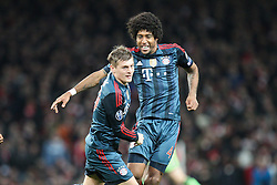 19.02.2014, Emirates Stadion, London, ENG, UEFA CL, FC Arsenal vs FC Bayern Muenchen, Achtelfinale, im Bild l-r: Torjubel von Toni KROOS #39 (FC Bayern Muenchen), DANTE #4 (FC Bayern Muenchen) // during the UEFA Champions League Round of 16 match between FC Arsenal and FC Bayern Munich at the Emirates Stadion in London, Great Britain on 2014/02/19. EXPA Pictures © 2014, PhotoCredit: EXPA/ Eibner-Pressefoto/ Kolbert<br /> <br /> *****ATTENTION - OUT of GER*****