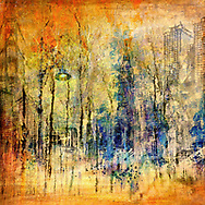 Vivid colors from orange to purple, strong vertical lines and urban sketches