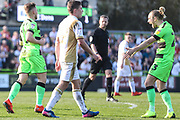Forest Green Rovers George Williams(11) scores a goal 1-0 and celebrates with Forest Green Rovers Joseph Mills(23) during the EFL Sky Bet League 2 match between Forest Green Rovers and Milton Keynes Dons at the New Lawn, Forest Green, United Kingdom on 30 March 2019.
