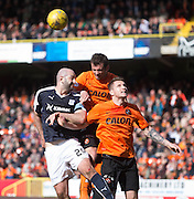 Aerial battle between Dundee&rsquo;s Gary Harkins and Dundee United's Gavin Gunning and Callum Morris - Dundee United v Dundee in the Ladbrokes Premiership at Tannadice<br /> <br />  - &copy; David Young - www.davidyoungphoto.co.uk - email: davidyoungphoto@gmail.com