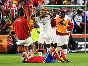 The Black Stars celebrate after the 2010 FIFA World Cup South Africa Group D match between Serbia and Ghana at Loftus Versfeld Stadium on June 13, 2010 in Pretoria, South Africa.