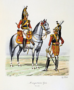 Grey Musketeers, 1814-1815.   From 'Histoire de la maison militaire du Roi de 1814 a 1830' by Eugene Titeux, Paris, 1890.