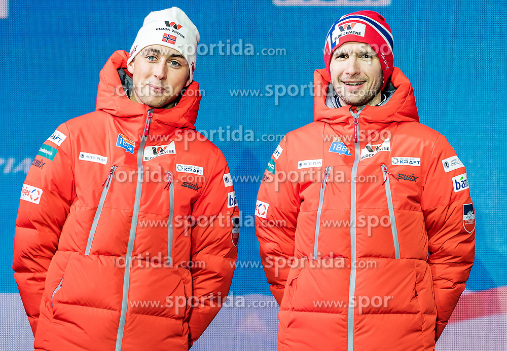 24.02.2019, Medal Plaza, Seefeld, AUT, FIS Weltmeisterschaften Ski Nordisch, Seefeld 2019, Nordischen Kombination, Teambewerb, Siegerehrung, im Bild Silbermedaillengewinner Jan Schmid, Jarl Magnus Riiber (NOR) // Silver medalist Jan Schmid Jarl Magnus Riiber of Norway during the winner ceremony for the team competition Nordic Combined of FIS Nordic Ski World Championships 2019 at the Medal Plaza in Seefeld, Austria on 2019/02/24. EXPA Pictures © 2019, PhotoCredit: EXPA/ Stefan Adelsberger