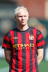 July 16, 2011; San Francisco, CA, USA;  Manchester City defender Ryan McGivern (48) during player introductions before the game against Club America at AT&T Park. Manchester City defeated Club America 2-0.
