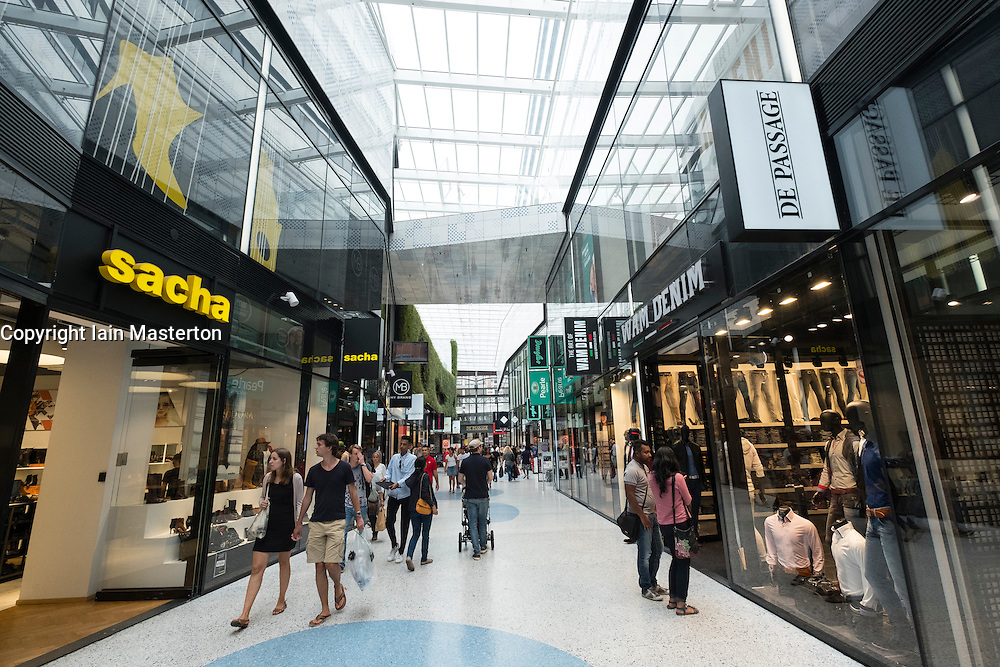 Interior of new De Passage shopping mall in Den Haag, The Hague, Netherlands