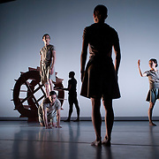 "April 5, 2012 - New York, NY : From left, Adam H. Weinert (standing), James McGinn (on all fours), Davon Rainey, Sara Procopio (foreground), and CC Chang perform in Jonah Bokaer and Davide Balliano's ""Metro Repitition"" during a dress rehearsal of The Baryshnikov Arts Center and The Watermill Center's presentation of ""On The Beach,"" inspired by -- and to celebrate the 35th anniversary of -- the Robert Wilson and Philip Glass opera ""Einstein on the Beach"" at the Baryshnikov Arts Center in Manhattan on Thursday night.  CREDIT : Karsten Moran for The New York Times"