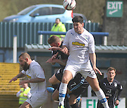Thomas O'Ware outjumps Iain Davidson - Greenock Morton v Dundee, SPFL Championship at Cappielow<br /> <br />  - &copy; David Young - www.davidyoungphoto.co.uk - email: davidyoungphoto@gmail.com
