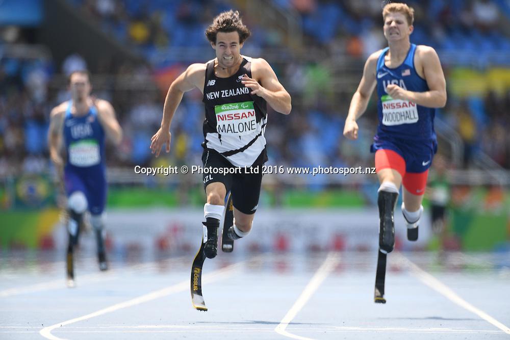 Liam Malone (NZL) wins Gold in the Men's 400m - T44.<br /> Athletics - Rio 2016 Paralympics  Games <br /> September 15, 2017<br /> Olympic Stadium, Rio de Janeiro, Brasil (Brazil)<br /> Copyright photo: Courtney Crow / www.photosport.nz