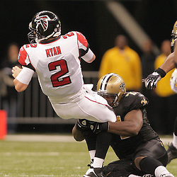 2008 December, 07: New Orleans Saints defensive tackle Kendrick Clancy (71) sacks Atlanta Falcons quarterback Matt Ryan (2) during a 29-26 victory by the New Orleans Saints over NFC South divisional rivals the Atlanta Falcons at the Louisiana Superdome in New Orleans, LA.