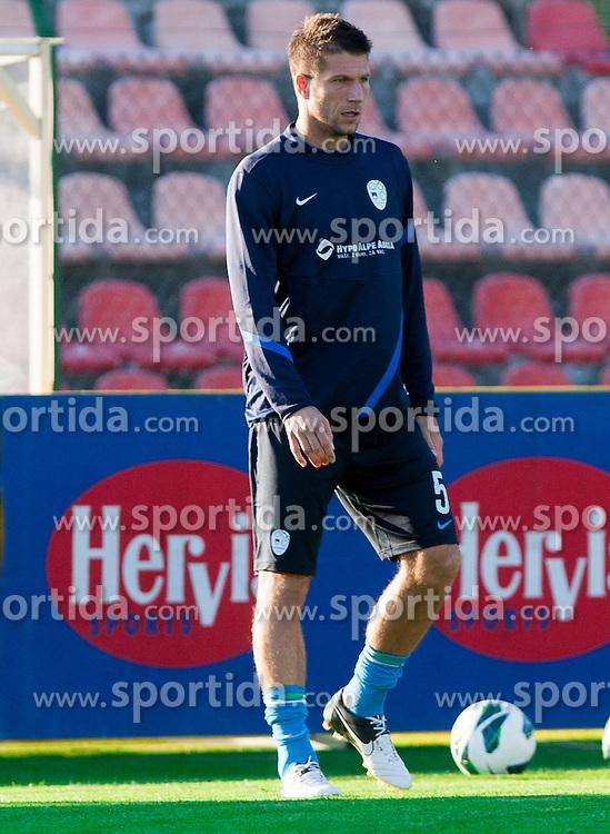 Bostjan Cesar of Slovenian National football team during training camp for World Cup Brasil 2014 Qualifications on October 8, 2012 in Kidricevo at Ptuj, Slovenia. (Photo By Vid Ponikvar / Sportida)