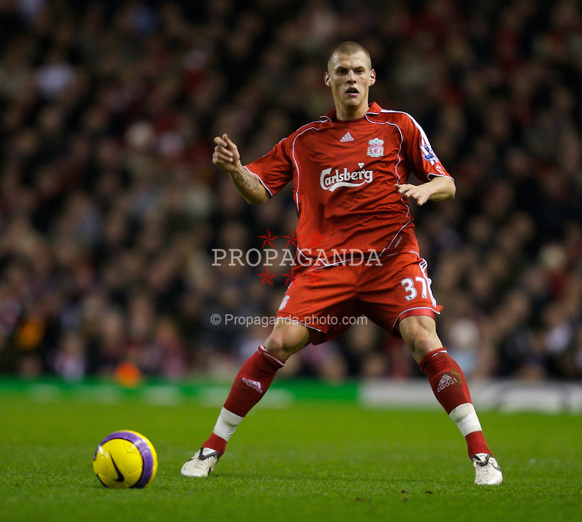 LIVERPOOL, ENGLAND - Saturday, February 2, 2008: Liverpool's Martin Skrtel in action against Sunderland during the Premiership match at Anfield. (Photo by David Rawcliffe/Propaganda)