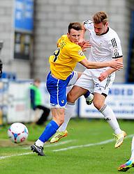 Bristol Rovers' Ollie Clarke is challenged by AFC Telford's Adam Farrell - Photo mandatory by-line: Neil Brookman/JMP - Mobile: 07966 386802 - 01/11/2014 - SPORT - Football - Telford - New Bucks Head Stadium - AFC Telford v Bristol Rovers - Vanarama Football Conference