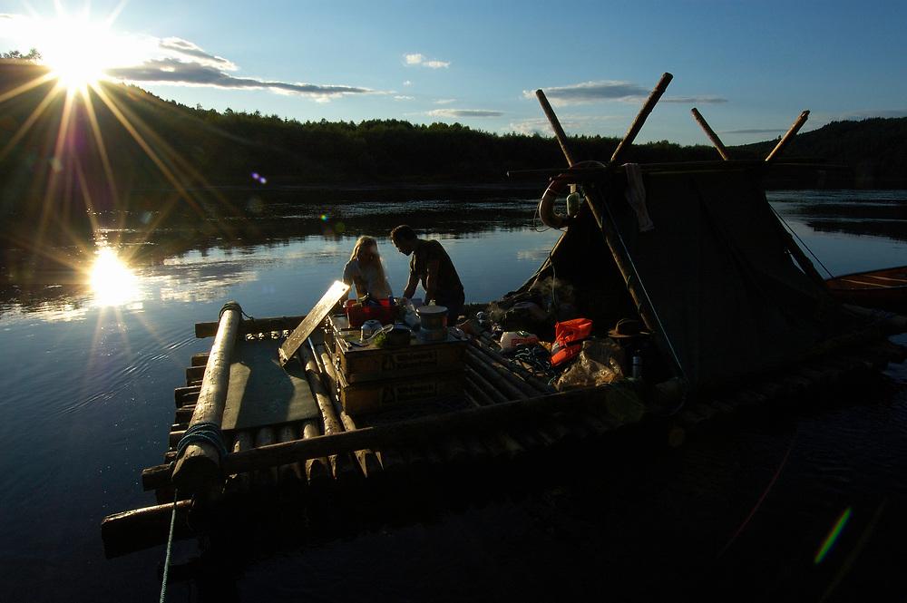 Timber rafting ecotourism, Vildmark i Varmland, River Klaralven, Varmland, Sweden